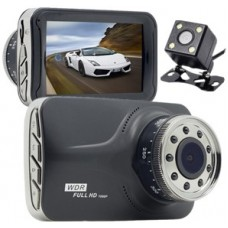 "DOUBLE CAMERA HD DVR WITH 3.0"" LCD SCREEN"