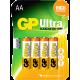 GP ULTRA ALKALINE AA 4PCS/CARD