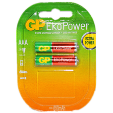GP EKO POWER RECHARGEABLE BATTERY AAA 2P/CARD 630mAh 1.2V