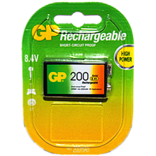 GP RECHARGEABLE BATTERY 9V 1P/CARD 200mAh 8.4V