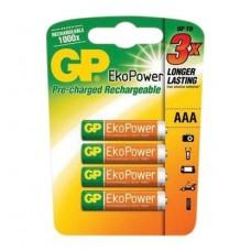 GP EKO POWER RECHARGEABLE BATTERY AAA 4P/CARD 630mAh 1.2V